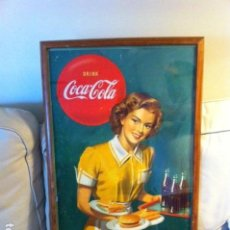 Coleccionismo de Coca-Cola y Pepsi: 1949 COCA-COLA CARDBOARD SIGN. LUNCH REFRESHED. ORIGINAL. 71X43 CMS FRAMED/ANTIGUO CARTEL COCA-COLA. Lote 68365029
