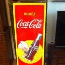 Coleccionismo de Coca-Cola y Pepsi: VINTAGE 1956 COCA-COLA SPRITE BOY PORCELAIN FRENCH SIGN. ORIGINAL. 137X46CMS / PLACA ESMALTADA COKE. Lote 68366321
