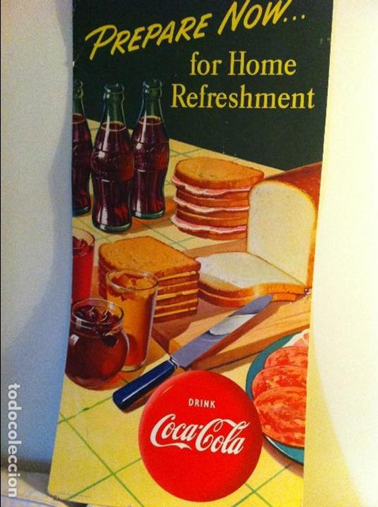 VINTAGE 1952 COCA-COLA CARDBOARD DISPLAY SIGN. SANDWICHES.ORIGINAL/ANTIGUO CARTEL COKE 115X56CMS (Coleccionismo - Botellas y Bebidas - Coca-Cola y Pepsi)