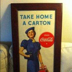 Coleccionismo de Coca-Cola y Pepsi: VINTAGE 1937 COCA-COLA CARDBOARD SIGN. FRAMED. ORIGINAL / ANTIGUO CARTEL COCA COLA COKE DE 1937. Lote 68369169