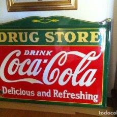 Coleccionismo de Coca-Cola y Pepsi: 1930S COCA-COLA DRUG STORE DIE-CUT EMBOSSED PORCELAIN SIGN. ORIGINAL / GRAN PLACA CHAPA LETRERO COKE. Lote 68369665