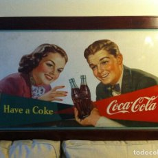 Coleccionismo de Coca-Cola y Pepsi: ANTIQUE 1950 COCA-COLA CARDBOARD SIGN. ORIGINAL. FRAMED. 102X62 CMS/ANTIGUO CARTEL COCA COLA. Lote 68372649