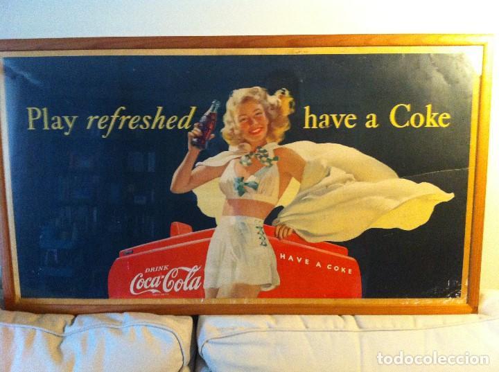 ANTIQUE 1948 COCA-COLA PAPER SIGN. ORIGINAL. 90X50CMS. FRAMED / ANTIGUO CARTEL COCA COLA DE 1948 (Coleccionismo - Botellas y Bebidas - Coca-Cola y Pepsi)