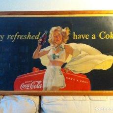 Coleccionismo de Coca-Cola y Pepsi: ANTIQUE 1948 COCA-COLA PAPER SIGN. ORIGINAL. 90X50CMS. FRAMED / ANTIGUO CARTEL COCA COLA DE 1948. Lote 68376257