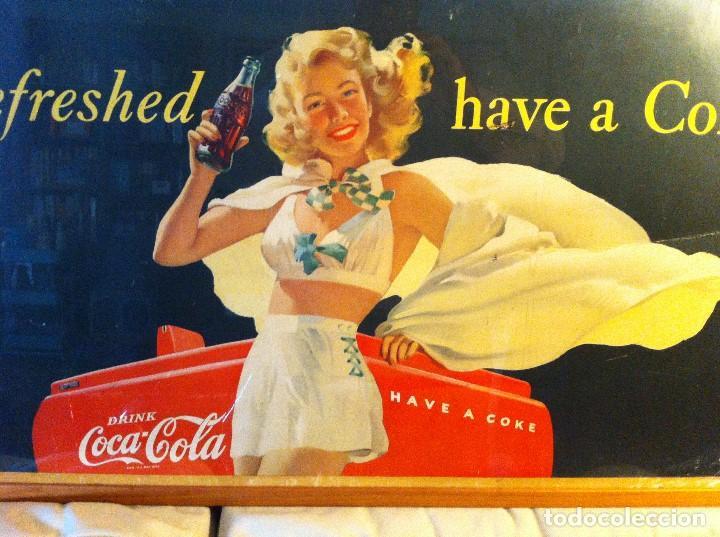 Coleccionismo de Coca-Cola y Pepsi: Antique 1948 Coca-Cola Paper Sign. Original. 90X50cms. Framed / Antiguo Cartel Coca Cola de 1948 - Foto 2 - 68376257