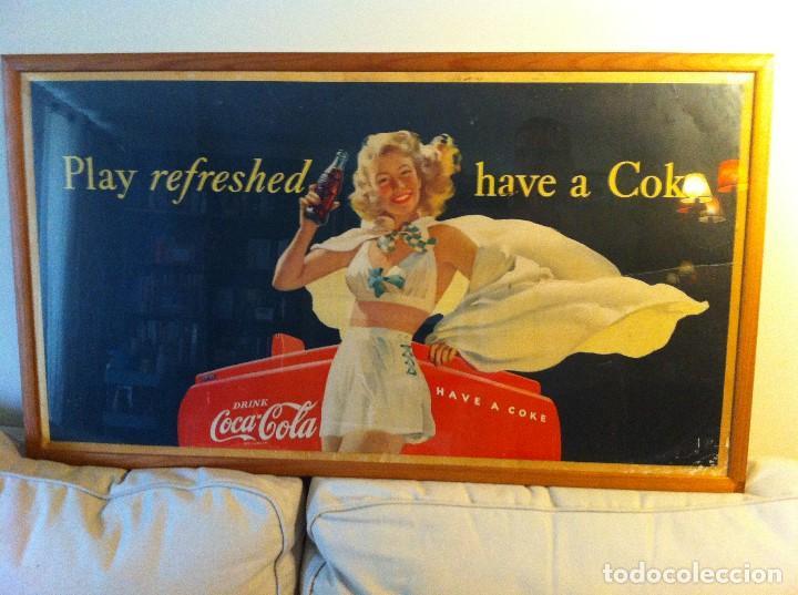 Coleccionismo de Coca-Cola y Pepsi: Antique 1948 Coca-Cola Paper Sign. Original. 90X50cms. Framed / Antiguo Cartel Coca Cola de 1948 - Foto 3 - 68376257