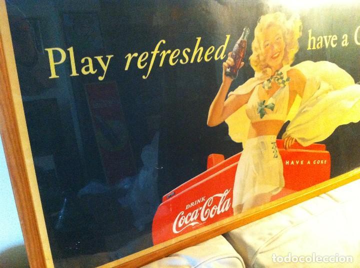 Coleccionismo de Coca-Cola y Pepsi: Antique 1948 Coca-Cola Paper Sign. Original. 90X50cms. Framed / Antiguo Cartel Coca Cola de 1948 - Foto 4 - 68376257