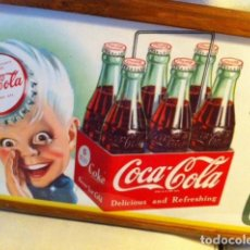 Coleccionismo de Coca-Cola y Pepsi: 1957 COCA-COLA SPRITE BOY PAPER ADVERTISING SIGN. ORIGINAL/ANTIGUO CARTEL COCA COLA DE 1957. Lote 68379177