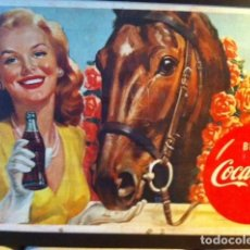 Coleccionismo de Coca-Cola y Pepsi: RARE 1950S COCA-COLA HORSE FRENCH ADVERTISING SIGN. ORIGINAL/ANTIGUO CARTEL COKE 147X79CMS. Lote 68379717