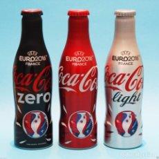 Coleccionismo de Coca-Cola y Pepsi: SET 3 BOTELLAS ALUMINIO COCA COLA TURQUIA DE LA EUROCOPA. Lote 75083231