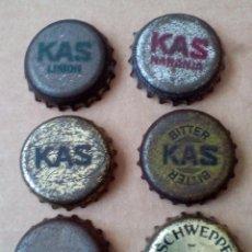 Coleccionismo de Coca-Cola y Pepsi: 6 CHAPAS DE KAS LIMON-NARANJA-BITTER- CHWEPPES Y GASEOSA REVOLTOSA,CON CICLISTAS.. Lote 80296857