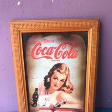 Coleccionismo de Coca-Cola y Pepsi: BONITO CARTEL DE COCA COLA EN CHAPA SOBRE MARCO. Lote 84267954