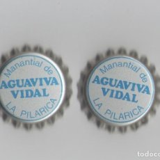 Coleccionismo de Coca-Cola y Pepsi: 2 CHAPAS DE AGUA VIVA VIDAL, DE ESPAÑA. Lote 84468116