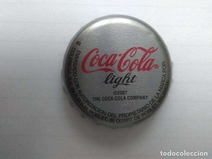CHAPA COCA-COLA LIGHT 2007 VALENCIA - FACTORIA U (Coleccionismo - Botellas y Bebidas - Coca-Cola y Pepsi)