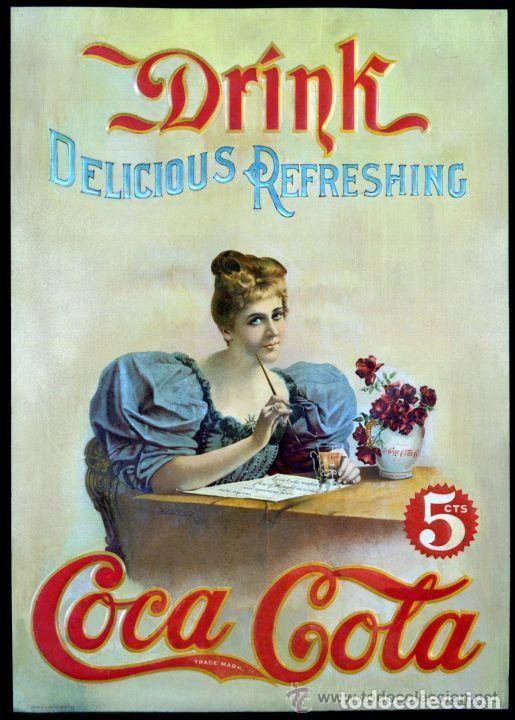 CARTEL CLASICO METALICO COCA COLA DRINK 5CTS NUEVO (Coleccionismos - Coca-Cola y Pepsi)