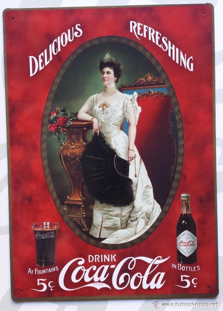CARTEL CLASICO METALICO COCA COLA DRINK 5CTS AT FOUNTAINS - IN BOTTLES NUEVO (Coleccionismos - Coca-Cola y Pepsi)