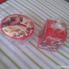 Coleccionismo de Coca-Cola y Pepsi: SERVILLETERO Y FIAMBRERA TUPPER TAPER O SIMILAR CON PUBLICIDAD COCA COLA COCACOLA, SIN USO, NUEVOS. . Lote 88901060