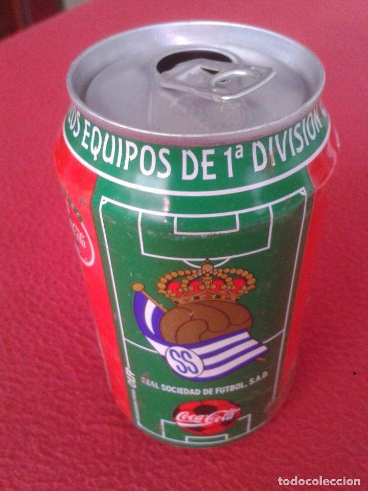 ANTIGUA LATA DE COCACOLA COCA COLA REAL SOCIEDAD SAN SEBASTIAN EQUIPOS FÚTBOL LIGA 96 97 1996 1997 (Coleccionismo - Botellas y Bebidas - Coca-Cola y Pepsi)
