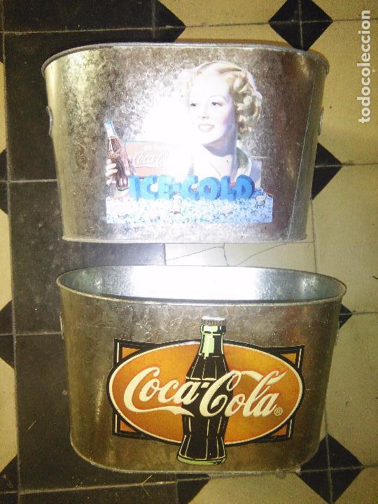 COCACOLA 2CUBITERAS DE ZINC MARCA COCA COLA RELIEVE EN EL METAL. (Coleccionismo - Botellas y Bebidas - Coca-Cola y Pepsi)
