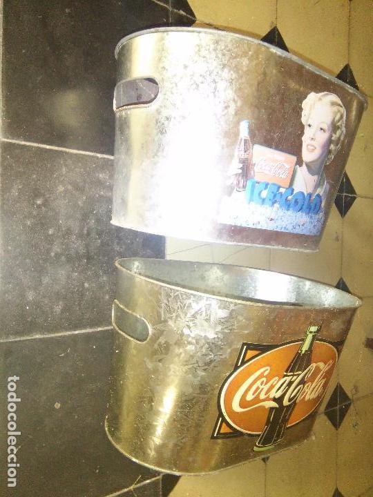Coleccionismo de Coca-Cola y Pepsi: COCACOLA 2CUBITERAS DE ZINC MARCA COCA COLA RELIEVE EN EL METAL. - Foto 9 - 91705110