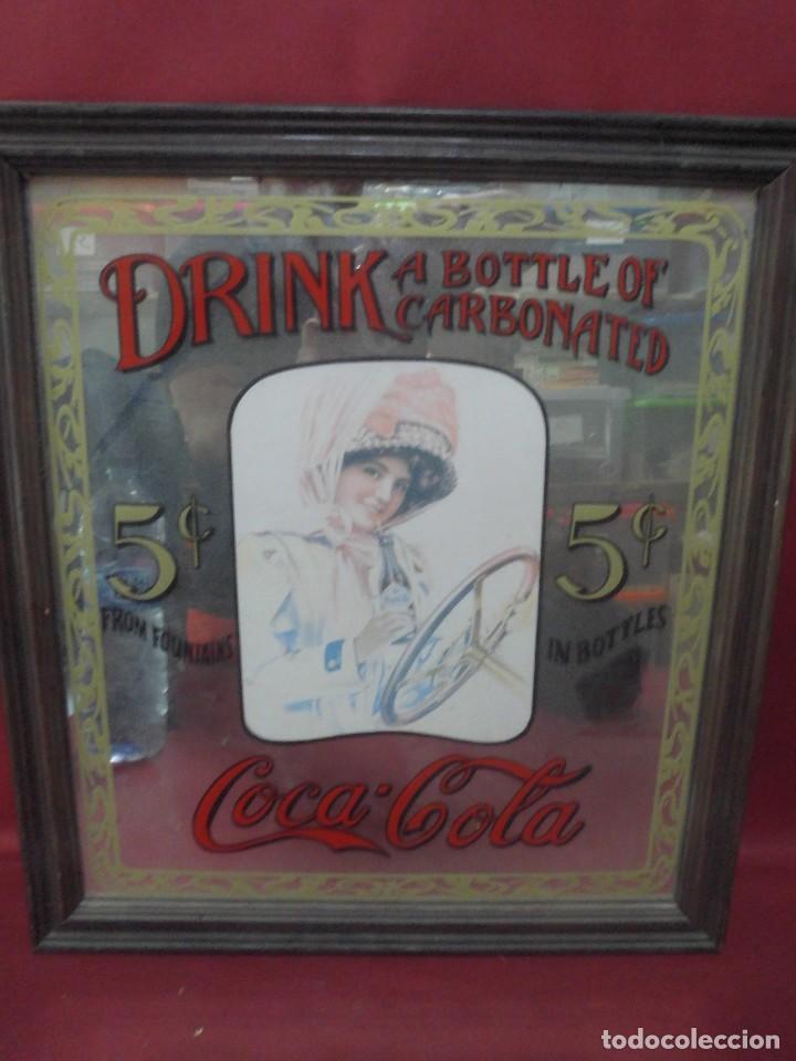 MAGNIFICO UNICO CARTEL ANTIGUO ESPEJO DE COCA COLA UNICO EN TODOCOLECCION (Coleccionismo - Botellas y Bebidas - Coca-Cola y Pepsi)