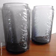 Coleccionismo de Coca-Cola y Pepsi: DOS VASOS COCA COLA - COCA-COLA VIDRIO NEGRO GRIS - IMITACION LATA - 12 CM ALTO - DIAMETRO 7 CM. Lote 95755555