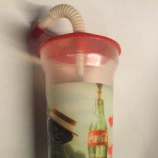 Coleccionismo de Coca-Cola y Pepsi: VASO PLÁSTICO COLECCIÓN COCACOLA CON PAJITA Y TAPA. Lote 98502642