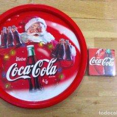 Coleccionismo de Coca-Cola y Pepsi: BANDEJA METAL COCA COLA, NAVIDAD AÑOS 80. 6 POSAVASOS COCA COLA PRECINTADOS. Lote 99960455