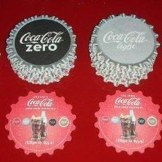 Coleccionismo de Coca-Cola y Pepsi: 101 POSAVASOS COCA-COLA 4 MODELOS DIFERENTES. Ø 9CM NUEVOS, NUNCA USADOS. CARTÓN EN FORMA DE CHAPA. Lote 99977971