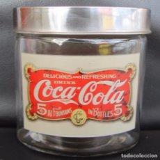 Coleccionismo de Coca-Cola y Pepsi: RARO TARRO BOTE DE CRISTAL PROPAGANDA DE COCA-COLA 13 CM ALTO 12,5 CM ANCHURA 8 CM FONDO. Lote 100320271