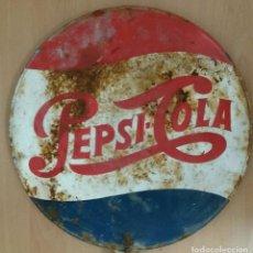 Coleccionismo de Coca-Cola y Pepsi: RARA, ESCASA CHAPA / SEÑAL DE TRÁFICO PEPSI AÑOS 60 PEPSICO, PEPSI-COLA. PUBLICIDAD ANTIGUA. Lote 102077779