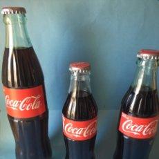 Coleccionismo de Coca-Cola y Pepsi: LOTE DE TRES BOTELLA DE COCACOLA DE ESPAÑA. COCA COLA SIN ABRIR. BARCELONA Y VALENCIA. Lote 103124751