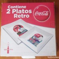 Coleccionismo de Coca-Cola y Pepsi: CAJA CON 2 PLATOS RETRO COCA COLA CONMEMORATIVOS DE LOS 125 AÑOS - PRODUCTO OFICIAL . Lote 103249855