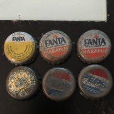Coleccionismo de Coca-Cola y Pepsi: LOTE 6 CHAPAS FANTA PEPSI SOLAN DE CABRAS AÑOS 80. Lote 103387558