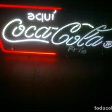 Coleccionismo de Coca-Cola y Pepsi: CARTEL LUMINOSO FLORUESCENTE COCA COLA COCA-COLA COKE 12 NEON 90W AQUI COCA-COLA FRIA. Lote 103839943