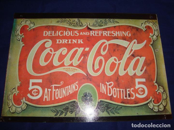 PLACA METALICA COCA-COLA 1991 (Coleccionismo - Botellas y Bebidas - Coca-Cola y Pepsi)