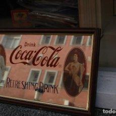 Coleccionismo de Coca-Cola y Pepsi: CARTEL PUBLICIDAD ESPEJO DE COCA COLA ENMARCADO. Lote 109300567