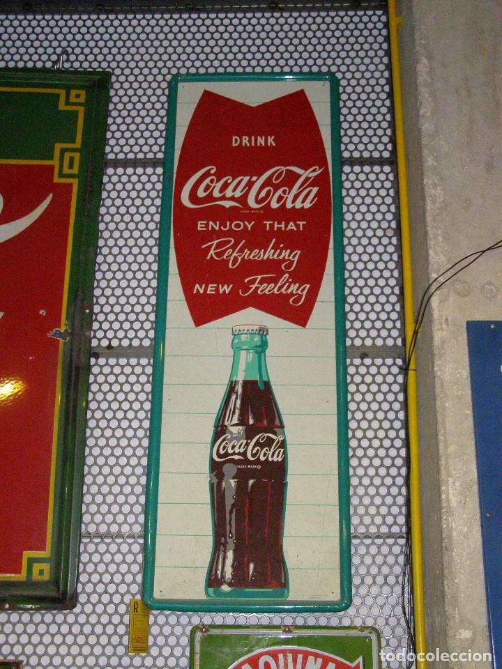 PLACA CHAPA LETRERO COCA-COLA ORIGINAL DE 1963. ROBERTSON (USA). (Coleccionismo - Botellas y Bebidas - Coca-Cola y Pepsi)