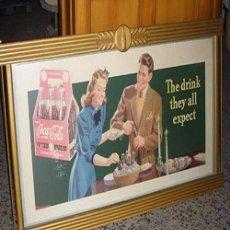 Coleccionismo de Coca-Cola y Pepsi: CARTEL COCA-COLA ORIGINAL DE 1942. MEDIDAS: 155 X 85CMS. MARCO ORIGINAL COCA-COLA. Lote 111530175