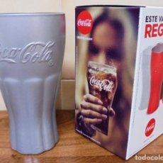 Coleccionismo de Coca-Cola y Pepsi: VASO PROMOCIONAL COCA-COLA. COLOR GRIS. MIDE 14 CM DE ALTO CON SU CAJA ORIGINAL. . Lote 135276518
