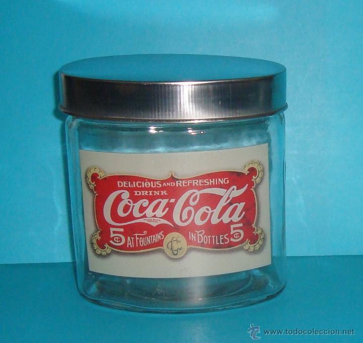 Coleccionismo de Coca-Cola y Pepsi: COCA COLA - FRASCO - TARRO- BOTE CRISTAL HERMÉTICO - VINTAGE - TAPA OVAL METAL - 12x13x8 cm - Foto 2 - 40153955
