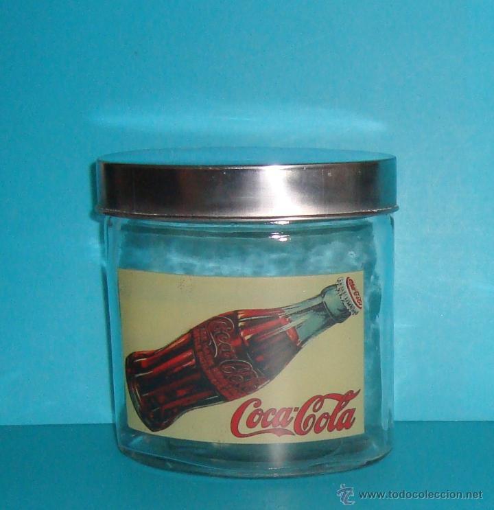 Coleccionismo de Coca-Cola y Pepsi: COCA COLA - FRASCO - TARRO- BOTE CRISTAL HERMÉTICO - VINTAGE - TAPA OVAL METAL - 12x13x8 cm - Foto 3 - 40153955
