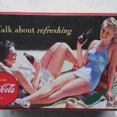 Coleccionismo de Coca-Cola y Pepsi: CAJA LATA METAL COCA-COLA VINTAGE RECTANGULAR. Lote 114453648