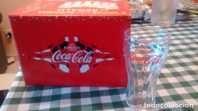 Coleccionismo de Coca-Cola y Pepsi: Coca-Cola 12 Vasos y 2 bufandas Euro 2016 - Foto 2 - 114735699