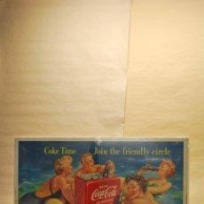 Coleccionismo de Coca-Cola y Pepsi: CARTEL COCA-COLA ORIGINAL COKE TIME JOIN THE FRIENDLY. 1955 CIRCLE. . Lote 115325575