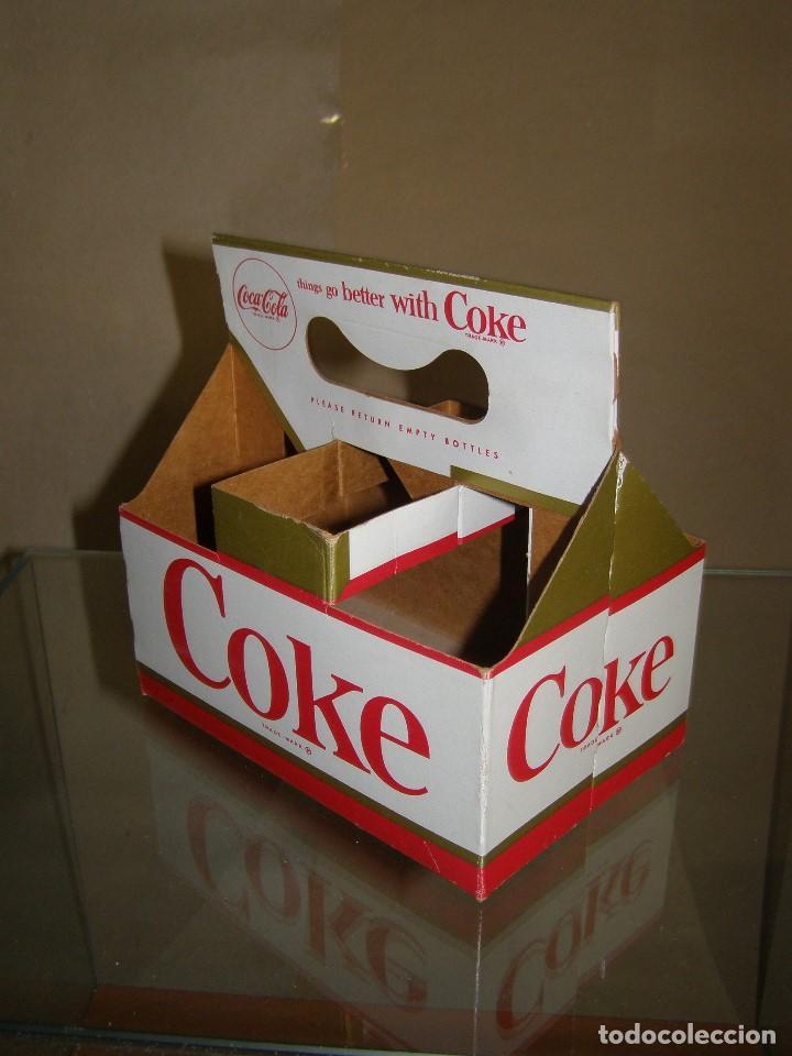 ANTIGUO BOTTLE CARRIER COCA-COLA USA. PACK 6. CARTÓN. ORIGINAL DE 1960S (Coleccionismo - Botellas y Bebidas - Coca-Cola y Pepsi)