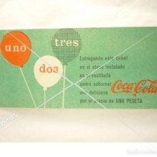 Coleccionismo de Coca-Cola y Pepsi: VALE DEGUSTACION COCA COLA UNA PESETA AÑOS 60'S. Lote 116934015
