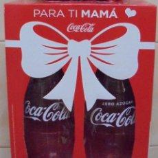 Coleccionismo de Coca-Cola y Pepsi: PACK COCA-COLA DIA DE LA MADRE. CONTIENE 2 BOTELLAS DE LITRO VACÍAS Y UNA BOLSA EXCLUSIVA. . Lote 118496987