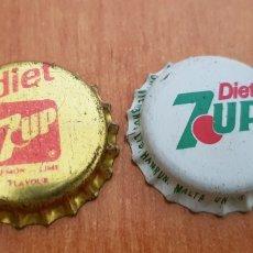 Coleccionismo de Coca-Cola y Pepsi: 2X ANTIGUA CHAPA CORONA 7UP DIET. Lote 118642146