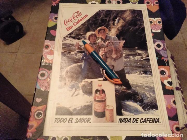 ANTIGUO DOBLE ANUNCIO PUBLICIDAD PARA ENMARCAR COCA COLA SIN CAFEINA TRASERA ASPIRINA BAYER (Coleccionismo - Botellas y Bebidas - Coca-Cola y Pepsi)